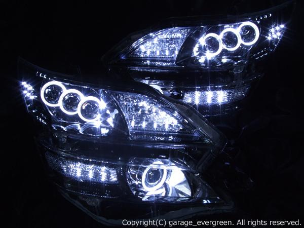 GGH/ANH 20W/25W ヴェルファイア AFS装備車用 <前期・後期ともにお取付可能です> 8連プロジェクター&8連LEDイカリング 仕様 純正加工品 ドレスアップヘッドライト