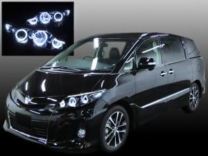 ACR/GSR 50W/55W エスティマ 中期/後期 純正HID車用 ■新車外しベース■ <後期純正 ブラックインナー> 6連イカリング&高輝度LED 仕様 純正加工品 ドレスアップヘッドライト
