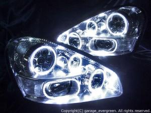 F50シーマ 中期/後期 AFS車用  <純正HID バーナー・バラスト付き> 8連白色LEDイカリング シルバーメッキインナー 仕様 純正加工品 ドレスアップヘッドライト
