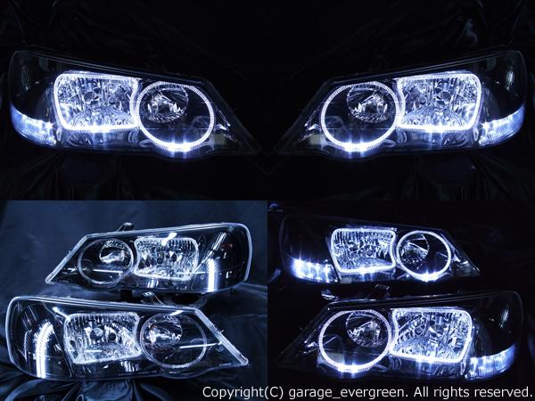 UA4/UA5インスパイア後期 ■純正HID付き■<限定色 インナーブラッククロム> ヘッドライトイカリング4連装&LED増設&ブラック 純正加工品 ドレスアップヘッドライト