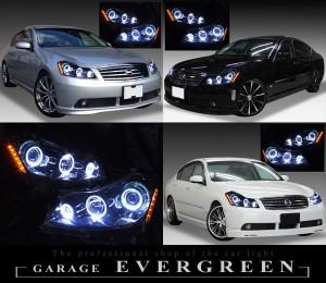 Y50フーガGT 純正HID車用 <限定 インナーブラッククロム> ブラック&6連イカリング&サイドオレンジLED 仕様 純正加工品 ドレスアップヘッドライト