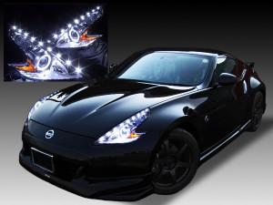 Z34 フェアレディZ 純正加工品 ドレスアップヘッドライト LEDイカリング&高輝度LED増設18発 仕様