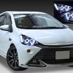 トヨタ アクア 前期 純正LEDロービーム車用 純正ドレスアップヘッドライト 4連LEDイカリング&高輝度白色LED12発増設
