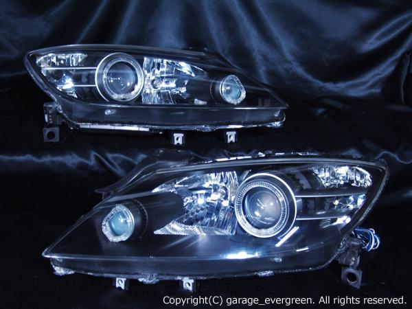 マツダ SE3P RX-8 前期 純正HID車用 純正ドレスアップヘッドライト 4連LEDイカリング&高輝度白色LED8発増設
