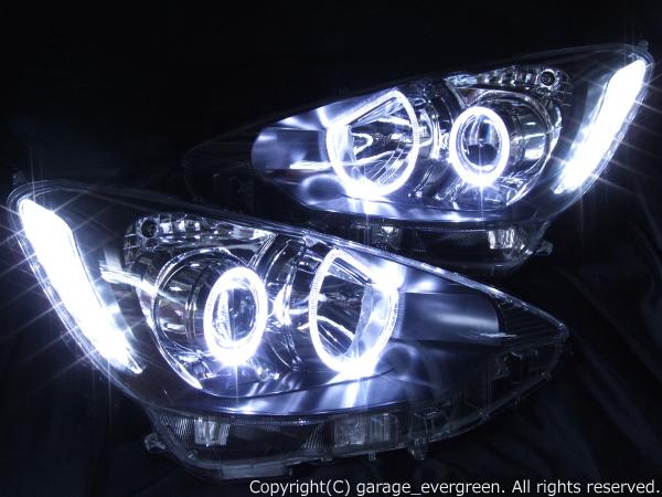 トヨタ アクア 前期 純正LEDロービーム車用 新品ヘッドライト加工品 純正ドレスアップヘッドライト 4連LEDイカリング&高輝度白色LED12発増設
