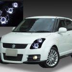 ZC31S スイフト スポーツ前期/後期 純正HID車用 車種別専用 純正ドレスアップヘッドライト 4連高輝度白色LEDイカリング