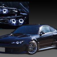 日産 S15 シルビア 純正ハロゲン車用 純正ドレスアップヘッドライト 4連LEDイカリング&インナーブラッククロム