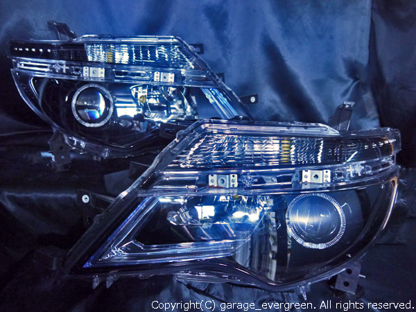 C26系 セレナ 後期 純正LEDロービーム車用 純正ドレスアップヘッドライト LEDイカリング&高輝度白色LED12発増設&純正ポジションLED色替え&インナーブラッククロム