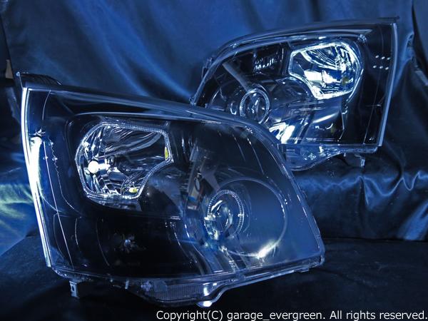 トヨタ ZRR70/75 ノア 前期 純正HID車用 純正ドレスアップヘッドライト 4連LEDイカリング&高輝度白色LED12発増設&インナーブラッククロム