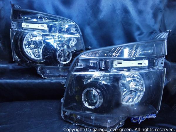 70系 ヴォクシー前期 純正HID車用 純正ドレスアップヘッドライト 4連LEDイカリング&高輝度白色LED12発増設&インナーブラッククロム