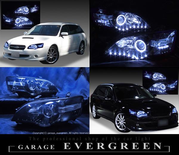 スバル BP/BL レガシィ前期 純正HID車用 純正ドレスアップヘッドライト LEDイカリング&高輝度白色LED26発増設&インナーブラッククロム