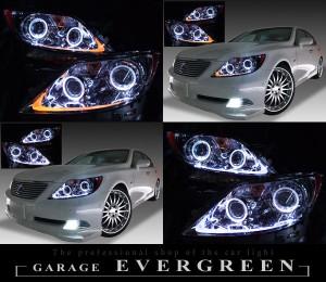 レクサス LS460前期 プリクラッシュ無し車または前方のみプリクラッシュ有り車用 4連LEDイカリング&増設ホワイト・オレンジLED 純正加工品 ドレスアップヘッドライト