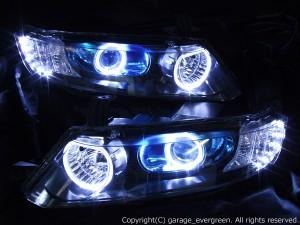 RB1/RB2 オデッセイ 前期/後期 AFS装備車用 <社外8000Kバーナー・純正バラスト付き> 白色12連高輝度LED&白色イカリング 仕様 純正加工品 ドレスアップヘッドライト