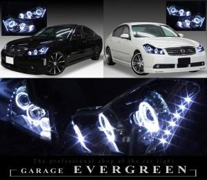Y50フーガGT ハロゲンベース <限定色 インナーブラッククロム> ブラックアウト&6連高輝度イカリング&サイドLED 仕様 純正加工品 ドレスアップヘッドライト