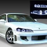 GF-S15 S15系シルビア ハロゲン車用 アクリルLEDファイバー&4連白色LEDイカリング 純正加工品 ドレスアップヘッドライト