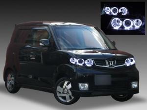 JE1 JE2 ゼスト スパーク 純正HID車用 <純正加工品 ドレスアップヘッドライト> 6連白色LEDイカリング 仕様