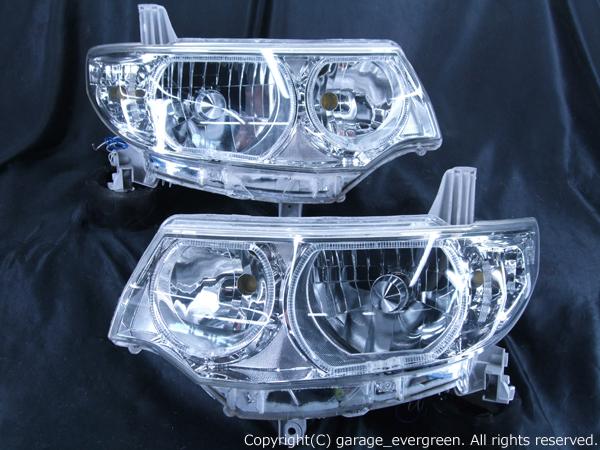 L375S/L385S タントカスタム 純正HID車用 <純正加工品 ドレスアップヘッドライト> 4連イカリング&増設高輝度白色LED 仕様