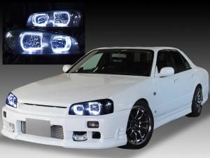 R34 スカイライン 前期/BNR34 GT-R 前期 <純正HID バーナー・バラスト付き> 4連白色高輝度LEDイカリング 仕様  純正加工品 ドレスアップヘッドライト