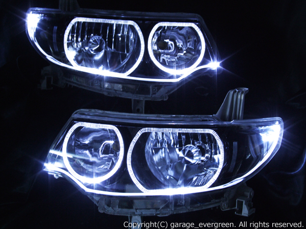 L375S/L385S タントカスタム 純正HID車用 純正加工品 ドレスアップヘッドライト  <アクリル発光イルミファイバー インナーブラッククロム>  4連イカリング&ファイバー&ブラック&増設LED 仕様
