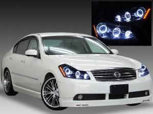 Y50フーガGT 純正ハロゲン車用 <限定 インナーブラッククロム> ブラック&6連イカリング&サイドオレンジLED 仕様 純正加工品 ドレスアップヘッドライト
