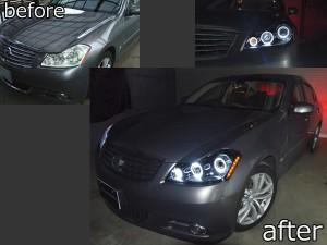 Y50フーガGT 純正ハロゲン車用 <限定 インナーブラッククロム> ブラック&6連イカリング&サイドオレンジLED 仕様 純正加工品 ドレスアップヘッドライトY50フーガGT 純正ハロゲン車用 <限定 インナーブラッククロム> ブラック&6連イカリング&サイドオレンジLED 仕様 純正加工品 ドレスアップヘッドライト