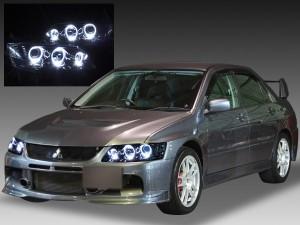 CT9A ランサー エボリューション Ⅶ Ⅷ Ⅸ <インナーブラッククロム 仕様> 白色LEDイカリング6連装 純正HID バーナー・バラスト付 ドレスアップヘッドライト
