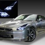 R35 GT-R 前期/中期用 プロジェクタ周囲メッキタイプ <純正HID バーナー・バラスト付き> アクリルLEDファイバー&4連白色LEDイカリング仕様 純正加工品 ドレスアップヘッドライト