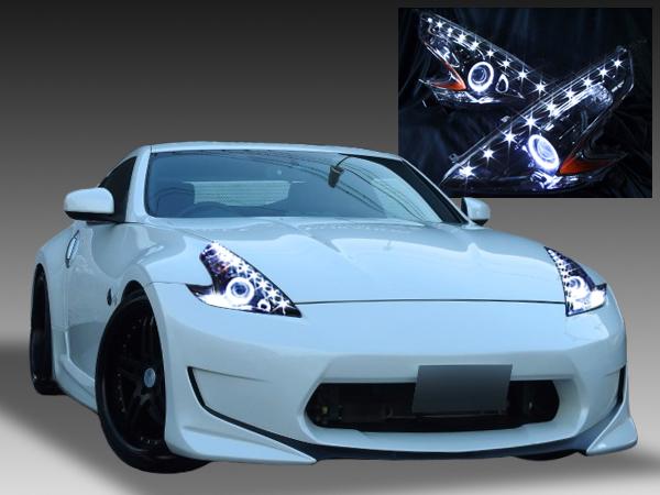 Z34 フェアレディZ 前期・後期 <限定色 インナーブラッククロム> ブラック&イカリング&高輝度LED増設18発 仕様 純正加工品 ドレスアップヘッドライト