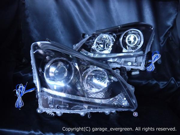200系 クラウン マジェスタ 前期/後期 純正HID車用 純正ドレスアップヘッドライト 4連LEDイカリング&高輝度白色LED24発増設&高輝度橙色LED24発増設&インナーブラッククロム
