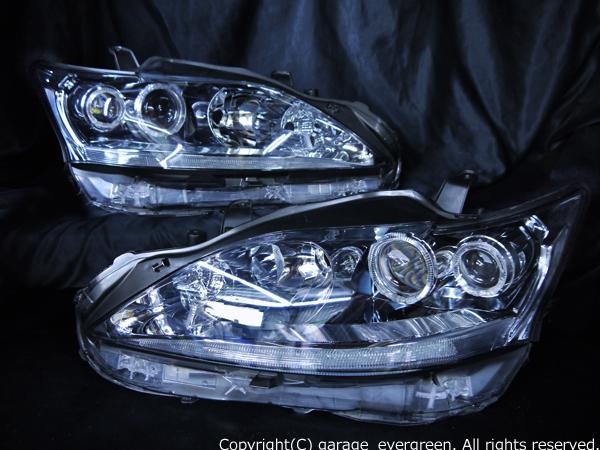 レクサスCT200h 前期/後期 純正LED車用 純正ドレスアップヘッドライト 4連LEDイカリング&純正LEDポジション部LED打ち替え