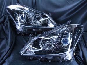 ヘッドライト現物加工 200系クラウンハイブリッド インナーブラック塗装&LEDイカリング&ファイバー
