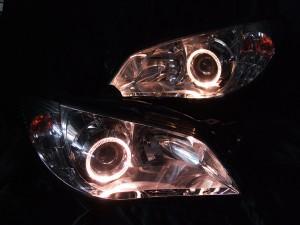 現物加工 GDBインプレッサ後期 G型 鷹目 アンバーLEDイカリングヘッドライト