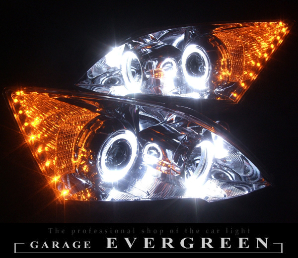 RE3 RE4 CR-V 高輝度白色LEDイカリング&サイドLED増設 仕様 純正加工 ドレスアップヘッドライト