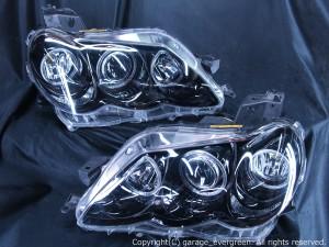 GRX120/GRX121/GRX125 マークX後期 HID車用 <限定色 インナー塗装 ブラッククロム> 高輝度白色LEDイカリング6連装&ブラック 仕様 純正加工品 ドレスアップヘッドライト