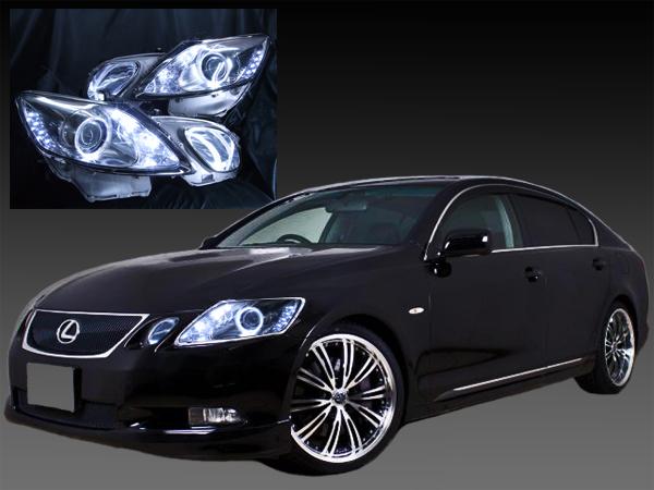 GRS19 レクサス GS 前期・後期 <サイドマーカー除去済みモデル> クリア加工&イカリング4連装&増設高輝度LED 仕様 純正加工品 ドレスアップヘッドライト
