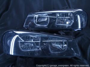 HR34 ER34 ENR34 スカイライン後期/BNR34 GT-R 後期 <限定色 インナーブラッククロム> ■純正HID付■ ブラック&白色LEDイカリング  純正加工品 ドレスアップヘッドライト