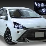 NHP10 アクア 純正ハロゲンロービーム車用 <限定色 インナーブラッククロム> ブラック&4連イカリング&増設LED 仕様 純正加工品 ドレスアップヘッドライト