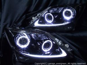 レクサス LS460前期 前方・後方プリクラッシュ搭載車用 <限定 サイドマーカー&インナー ブラッククロム 仕様> 4連イカリング&増設白/橙LED&ブラック塗装 純正HID付き 純正加工品 ドレスアップヘッドライト