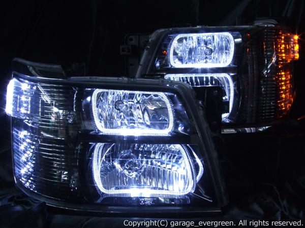 ■純正HID付き■ E50 エルグランド 後期 <限定色 インナーブラッククロム> 白/橙 WサイドLED増設&ブラック&LEDイカリング 仕様 純正加工品 ドレスアップヘッドライト