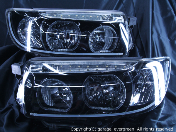 ■純正HID付き■ SG5 フォレスター後期 <LED発光 アクリルイルミファイバー仕様> ブラッククロム&ファイバー&イカリング&LED増設 純正加工品 ドレスアップヘッドライト
