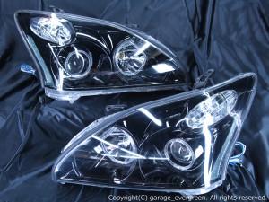 ACU/MCU/GSU 30W/35W ハリアー HID・AFS有り車用 <限定色 インナーブラッククロム 仕様> インナーブラック&4連イカリング&増設オレンジLED 純正加工品 ドレスアップヘッドライト