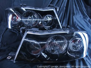 ■純正HID付き■ Y34系グロリア 後期 <ハロゲン車体取り付け可能> インナーブラッククロム&6連LEDイカリング 純正加工品 ドレスアップヘッドライト