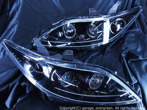 RR1/RR2/RR3/RR4 エリシオン 前期/中期 <純正HID バーナー・バラスト付き> Wアクリルイルミファイバー&8連イカリング&LED増設 仕様 純正加工品 ドレスアップヘッドライト