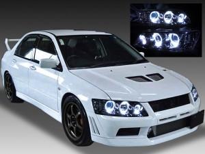 CT9A ランサー エボリューション Ⅶ Ⅷ Ⅸ <純正HID バーナー・バラスト付き> インナーブラッククロム&LEDイカリング6連装 純正加工品 ドレスアップヘッドライト