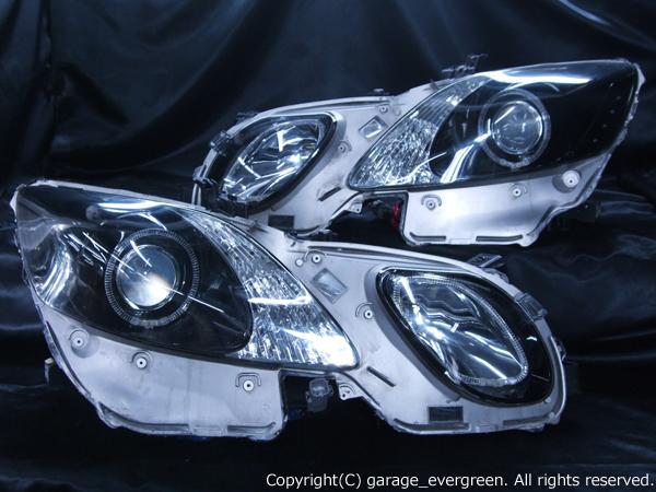 レクサス GRS/URS/GWS 19系 GS 前期/後期 全グレード用 純正HID車用  純正加工品 ドレスアップヘッドライト 4連LEDイカリング&高輝度白色LED24発増設&高輝度橙色LED12発増設&インナーブラッククロム