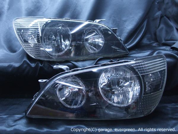 トヨタ アルテッツァ前期 純正ハロゲン車用 純正ドレスアップヘッドライト 4連LEDイカリング&高輝度白色LED増設&ウィンカークリア&インナーブラッククロム