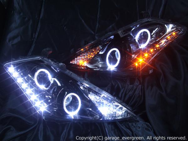 日産 Z50系 ムラーノ 純正ドレスアップヘッドライト 4連LEDイカリング&高輝度橙色LED16発増設&高輝度白色LED16発増設&インナーブラッククロム