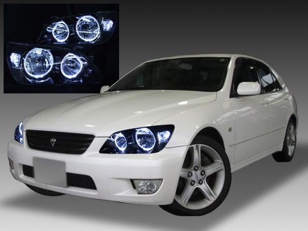 トヨタ アルテッツァ前期用 純正ハロゲン車用 純正ドレスアップヘッドライト 4連LEDイカリング&高輝度白色LED増設&ウィンカークリア&インナーブラッククロム