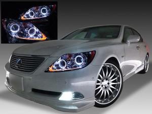 ■レクサス LS460前期 プリクラッシュ無し車または前方のみプリクラッシュ有り車用 4連LEDイカリング&高輝度白色LED24発増設&高輝度橙色LED24発増設