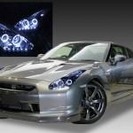 日産 R35 GT-R 前期/中期 HID用 車種別専用 純正ドレスアップヘッドライト 4連LEDイカリング&インナーブラッククロム&高輝度白色LED22発増設 仕様
